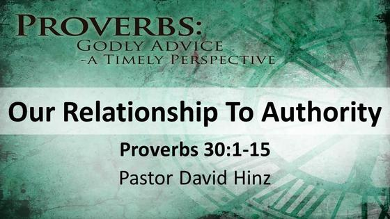 Proverbs: Our Relationship to Authority